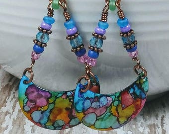 Multi Colored Enameled Copper Drop Earrings Rainbow Bohemian Dangle Earwires New Age Gypsy Hippie Boho Chic Birthday Gifts for Her BJGE03