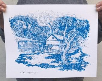 """FREE SHIPPING - Valley Green Inn Print -- Paul Carpenter Art -- Philly Artist Open Edition Screen Print -- 11 x 14"""""""