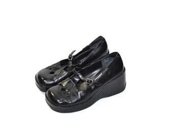 Vintage Chunky Heel Shoes Black Mary Janes Chunky Heel Mary Jane Shoes Mudd Mary Jane Shoes 90s Mary Janes