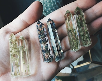 For makers - Resin CRYSTAL ONLY - handmade of resin and real dried plants. Lavender, Gypsophila, or Bald Cypress.