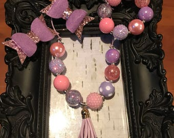 Pink ans purple bubblegum chunky tassel necklace