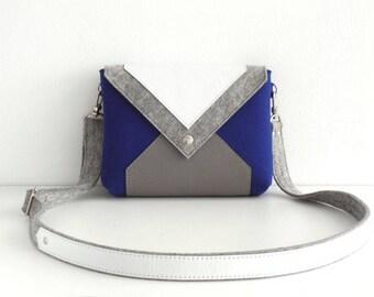 Navy Blue Gray White Wool Felt Genuine Leather Crossbody Bag