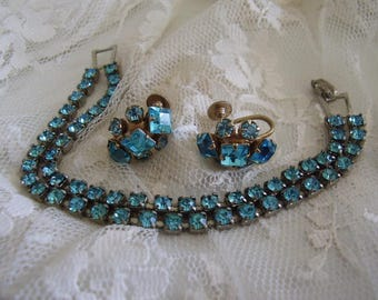 Turquois RHINESTONE BRACELET & Screw Back EARRINGS