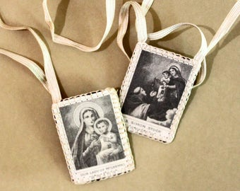 Vintage Brown Scapular Pair*Saint Simon, Our Lady of Mt. Carmel Religious Pendant