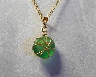 Green Sea Glass Nugget Necklace
