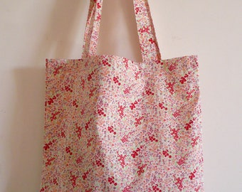tote bag / purse in red and pink floral cotton