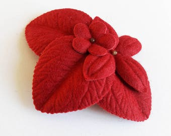 "fascinator hair clip ""winter garden"" Red"