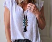 Beaded Leather Tassel Necklace Boho Jewelry