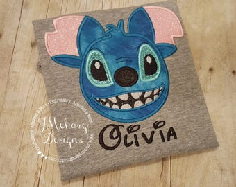 Stitch Inspired Mouse Custom embroidered Disney Inspired Vacation Shirts for the Family! 75 grey