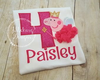 Fairy Princess Peppa Pig Birthday Custom Tee Shirt - Customizable -  Infant to Youth 296a hot pink4