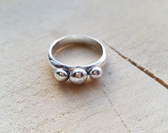 Pebble Ring Recycled Silver Ring Granulated Ring