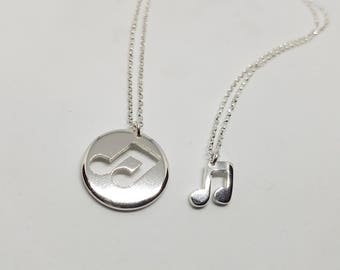 Music Note Necklace Pendant Silver Music Note Best friend gift Music Note Music Jewellery Musician Gift Music Necklace Musical Gifts
