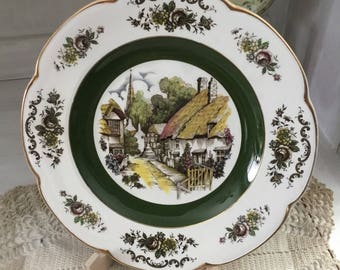 Vintage Ascot Service plate, Wood and Sons, England, alpine white, ironstone, village scene