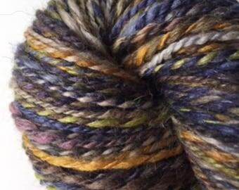 Hand Spun Shetland/Silk/Linen in Blues and Golds 176yds