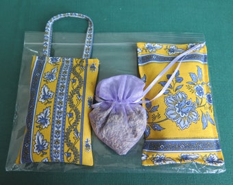 set of 3 Lavender filled  sachets.Dry French lavender.fabric from Provence ,France,little flowers in yellow.Gift for her.Unique gift.napkins