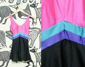 80s Pink One Piece Swimsuit // Blair Neon Striped Skirt Swimwear // Retro Aerobic Teal Purple Barbie Size Small