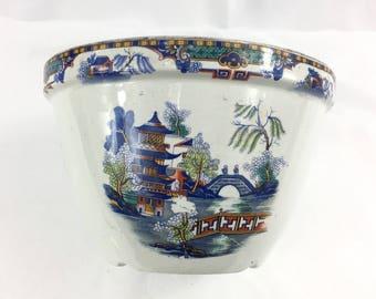 Blue Willow / Transferware Jardiniere / Cachepot / Antique English Porcelain / Rare Beauty