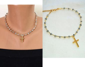 Crystal Cross Necklace, Gold Charm Necklace, Crystal Beaded Necklace, Religios Jewelry, Patriotic Jewelry, Gift for girlfriend, Birthday Gif