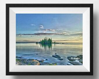 Island landscape photography, cloudy sky, water landscape, water art, rocks in water, green trees, calm water,mossy rocks, desert island art