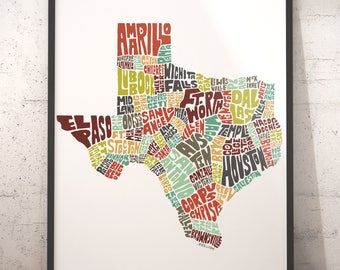 Texas map art, Texas art print, Texas typography map, map of Texas, Texas cities city map, state of Texas, choose color & size