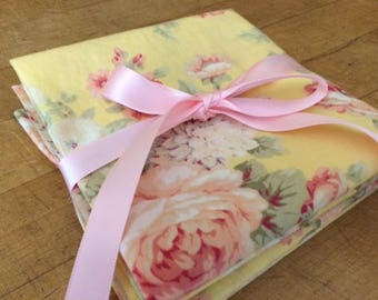 Wedding Favor - Bridesmaid Gift, Bridal Shower, Thank You Gift, Pretty Yellow Floral Cloth Napkin Set, by Chow with ME
