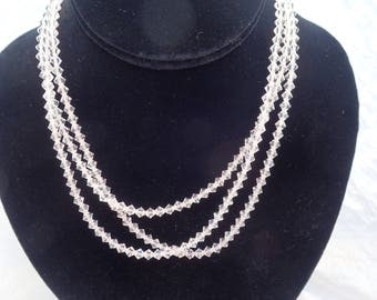 "Vintage Austrian Crystal 48"" x 5 mm Necklace T-65"