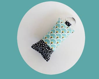 Mint green scales fabric key fob / black and white polka dots