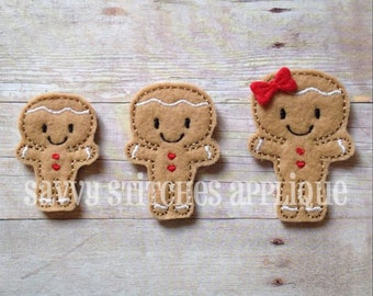 Gingerbread Feltie Machine Embroidery Design