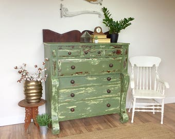 Green Dresser - Antique Farmhouse - American Empire - Large Dresser - Unique Furniture - Distressed Dresser - Primitive Furniture