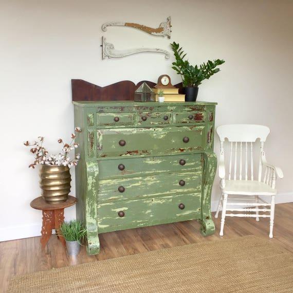 Green Dresser - Antique Farmhouse - American Empire - Large Dresser - Unique Furniture - Distressed Dresser - Primitive Furniture