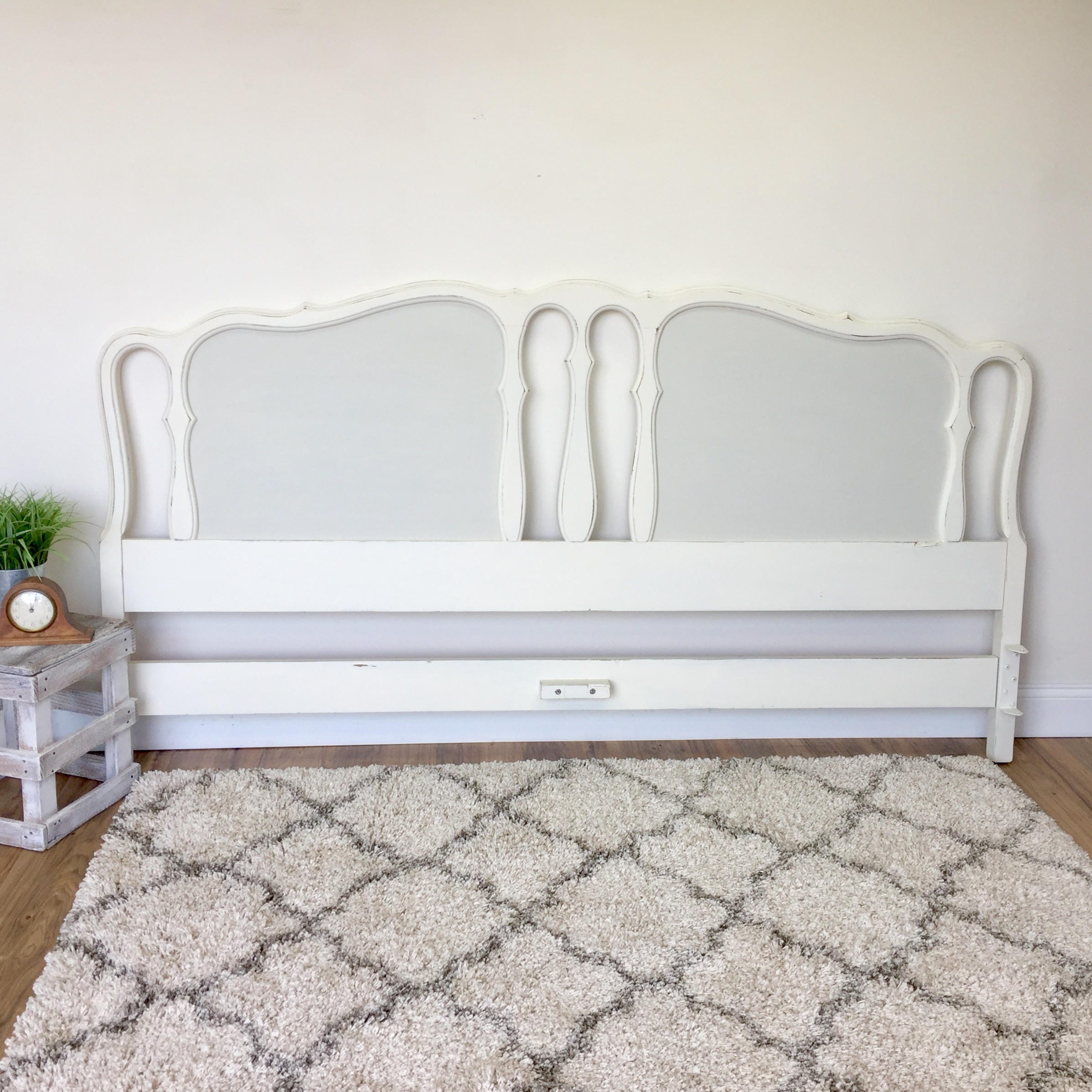 White King Headboard French Provincial Antique Bedroom Furniture Shabby Chic Headboard