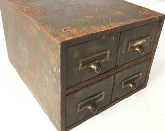 Vintage Industrial Steel Card Catalog 4 Drawer Parts Cabinet Metal Steampunk Storage Office Crafts