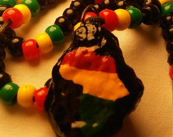 Rasta Colors African Black Beaded Necklace 90s Style 22in Long Adjustable