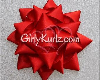 Red Gift Bow, Present Hair Bow, Gift Hair Bow, Hair Accessories, Hair Clip