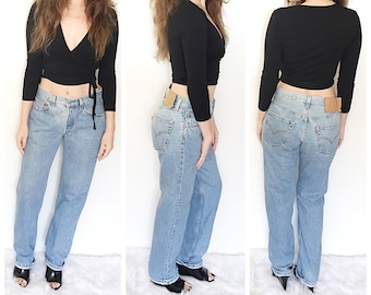 Vintage Levis 501 jeans / light wash denim 501 / high waist jeans