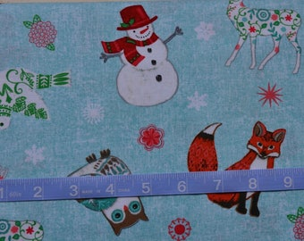 Chalkboard Snowman Fabric/Christmas Fox and Dove/Studio E/Light Blue Yardage/Quilting, Clothing and Craft/Fat Quarter, Half, By the Yard
