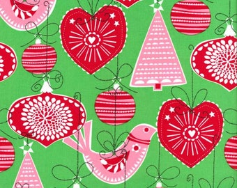 Christmas Fabric by The Yard - Green, Red and Pink Scandinavian Design - Christmas Ornament Fabric - Cotton Yardage - Quilting Fabric