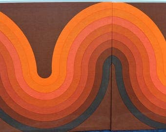 Verner Panton Kurve 2 Panel Textile Wall Art for Mira X Spectrum Orange Brown Red Mid Century Modern Large Stretched Fabric Graphic Art Wave