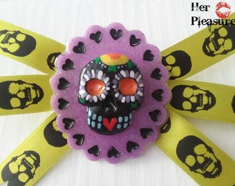Day Of The Dead Sugar Skull Hand Painted Halloween Horror Hair Bow