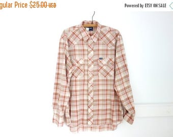 ON SALE Mens Vintage Western Shirt WRANGLER Pink Striped Made In Usa Multi Color Long Sleeve Cowboy Rodeo