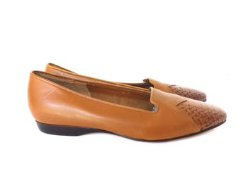 Vintage 80s Brown Leather Pointed Toe Woven Leather Flats Preppy, Enzo Angiolini Size 6 m
