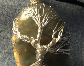 Tree of Life on Labradorite Healing Chakra Polished Gemstone.  Labradorite is considered by mystics to be a stone of transformation 2""