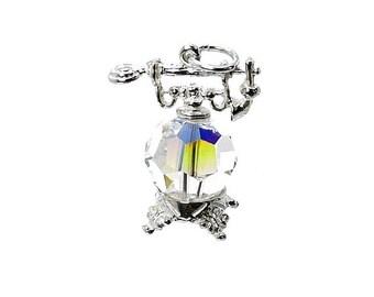 Sterling Silver & Swarovski Crystal Set Antique Telephone Charm For Bracelets