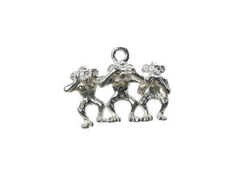 Sterling Silver 3 Wise Monkies Charm For Bracelets