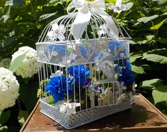 Antique White Bird Cage Floral Bouquet Rustic Birdcage Mothers Day Gift Wedding