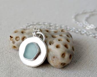 Soft Aqua Blue Sea Glass Pendant on Recycled Sterling Silver - Natural Sea Glass, Genuine Sea Glass - Sea Glass Necklace, Sea Glass Jewelry