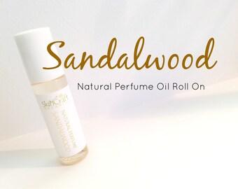 Sandalwood Perfume - Natural Roll On Perfume Oil -  Natural Fragrance Perfume  - Vegan Perfume - Sandalwood Fragrance .3 oz Glass Roll On