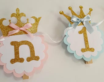 Twins Prince Princess 12 month photo banner twins boy girl birthday banner party royal decoration pink and blue