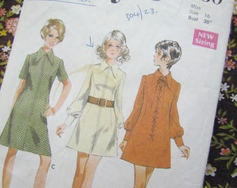 Retro 1970 Size 38 Inch A Line Dress with Pointed Collar - Vintage Style Sewing Pattern, No 2530