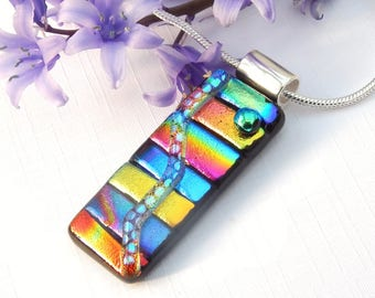 Multicolor Glass Pendant, Dichroic Glass Pendant, Fused Glass Jewelry, Mixed Art Glass Necklace, Rainbow Fused Glass